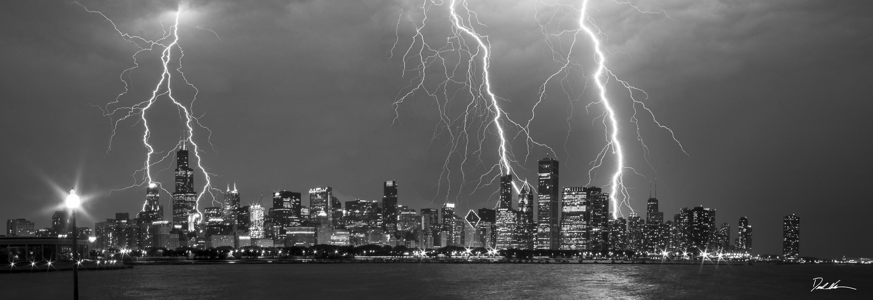 Nighttime storm in Chicago