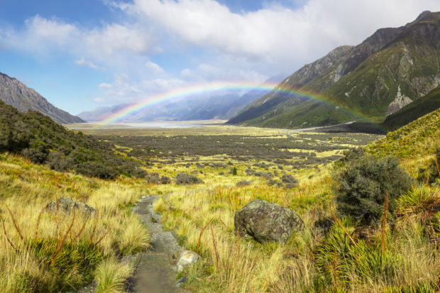 Rainbow in the mountains of New Zealand