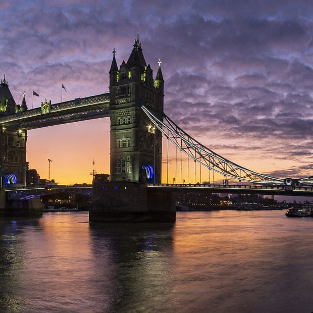 Sunrise over London and river
