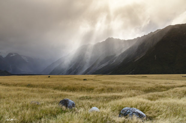Mountain in New Zealand during storm