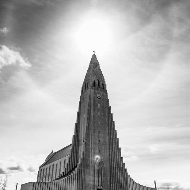 Iceland church in the sunlight
