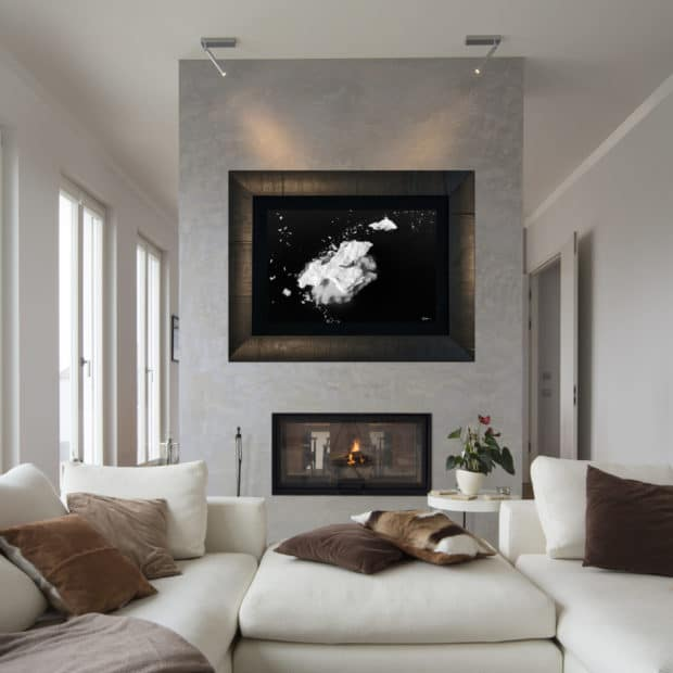 framed black and white photo of seal floating on ice in Antarctica displayed in living room of modern luxury home