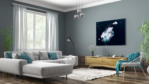 large photo of seal on ice floating in Antarctica displayed in living room of modern luxury home