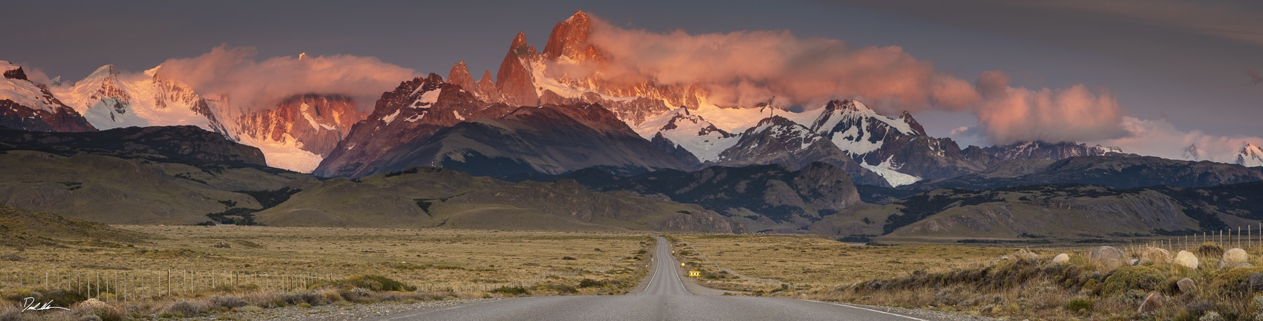 rich colored sunrise on Patagonia mountains in Argentina