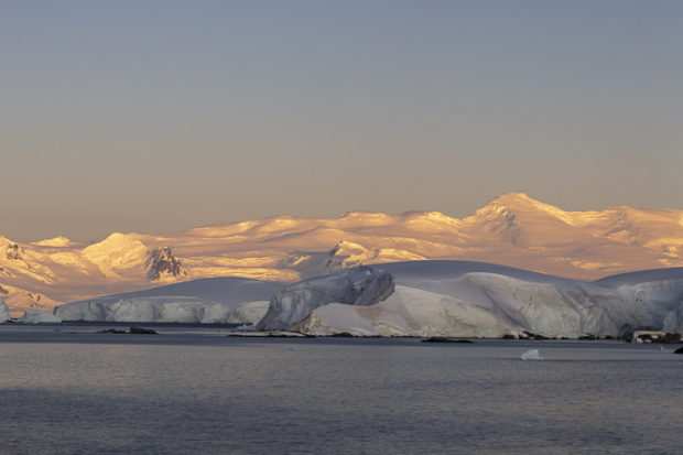 sunset across mountains in Antarctica