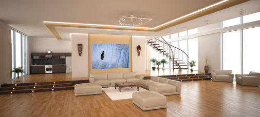 very large photo of emperor penguin displayed in living room of modern luxury home