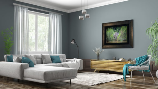 large framed photo of an elephant in borneo displayed in modern stylish luxury home