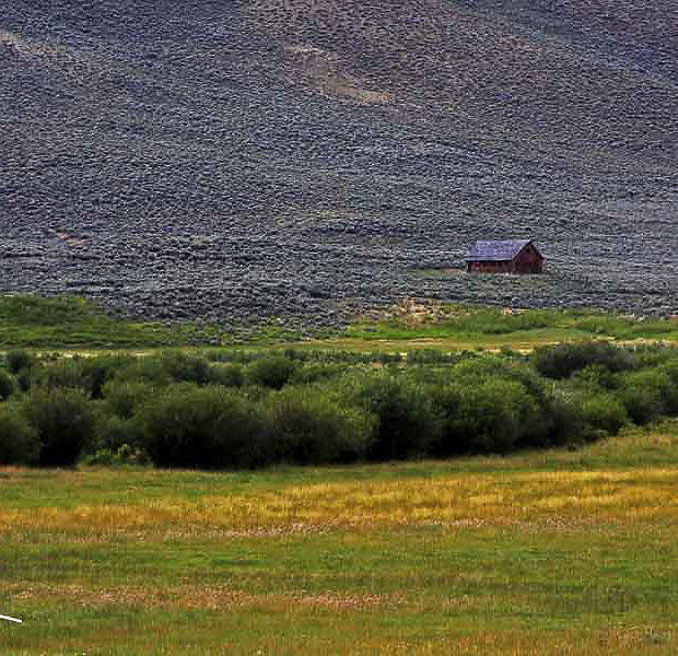 lone building in foothills