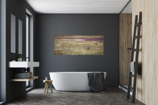 photo of birds in Patagonia feeding in a field displayed over bathtub in bathroom of luxury home