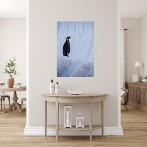 photo of emperor penguin displayed in hallway of luxury home