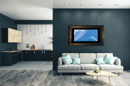 framed abstract photo of ice in Antarctica displayed in living room of luxury modern home