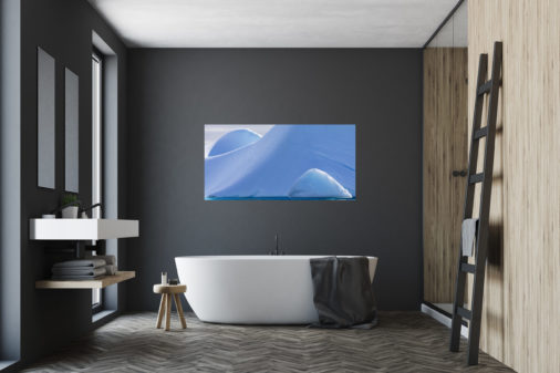 abstract photo of ice formations in Antarctica displayed in bathroom of luxury modern home