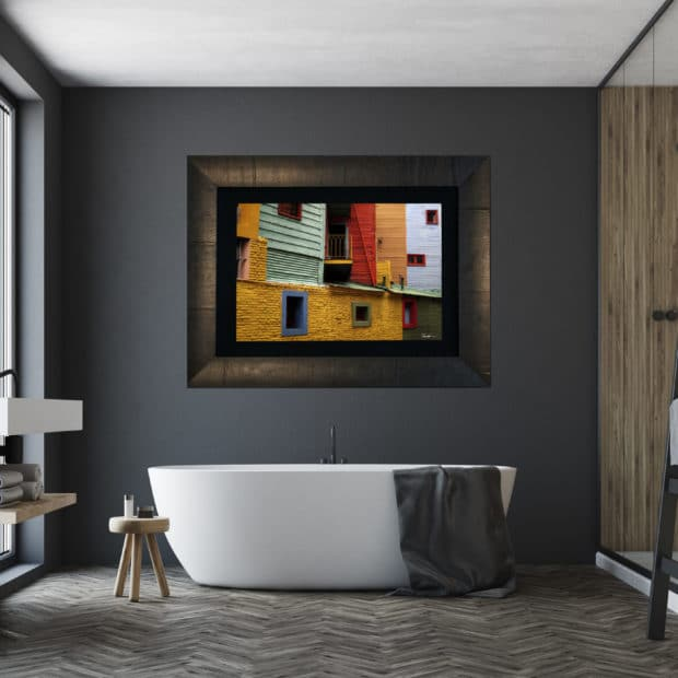 framed fine art image of very colorful street scene in Buenos Aires displayed in modern stylish luxury home