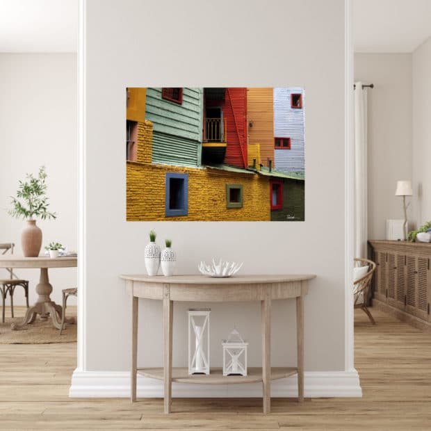 very colorful photo of street scene in Buenos Aires displayed in modern stylish luxury home
