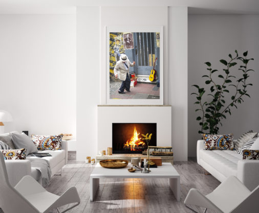 framed photo of man dancing in the streets of Buenos Aires displayed in modern stylish luxury home