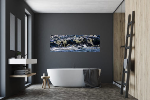 photo of chinstrap penguins diving into ocean displayed in bathroom of modern home