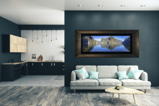 framed photo of doubtful sound displayed in modern stylish luxury home
