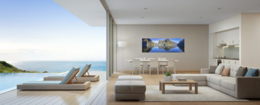panoramic photo of doubtful sound in New Zealand displayed in modern stylish luxury home
