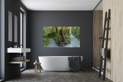 photo of hiking path in New Zealand displayed above bathtub in bathroom of modern luxury home