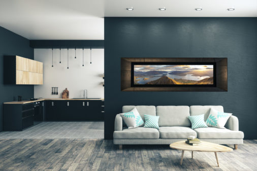 very large framed fine art print of Wanaka New Zealand at sunrise taken from Roys peak displayed in modern stylish luxury home