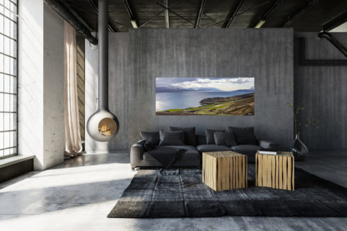 large fine art print of huge Icelandic fjord displayed in modern stylish luxury home