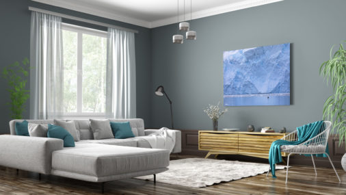 photo of bird flying in front of glacier displayed in living room of modern luxury home