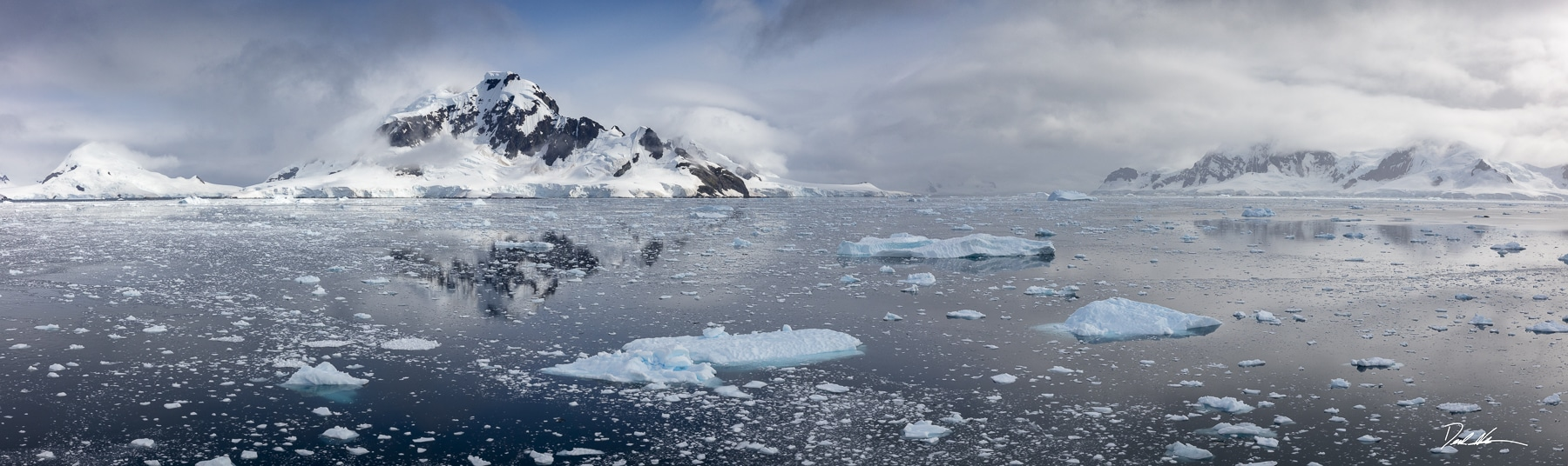 mountains surrounded by ice in Antarctica