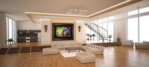 framed colorful photo of large male orangutan displayed in modern stylish luxury home