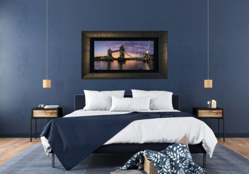 framed large format photo of Tower of London bridge at sunrise displayed in modern stylish luxury home