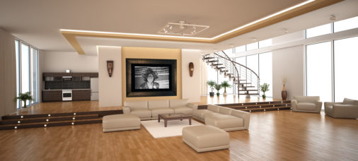 framed black and white photo of African medicine man displayed in modern stylish luxury home