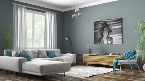 photo of African medicine man displayed in modern stylish luxury home