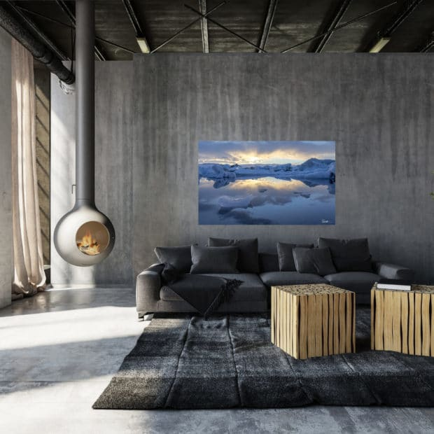 photo of glacial bay hanging in modern living room