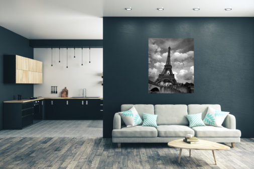 large photo of Eiffel Tower in Paris displayed in modern stylish luxury home