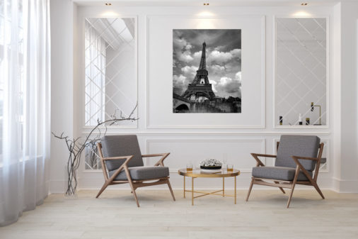 black and white photo of Eiffel Tower in Paris displayed in modern stylish luxury home