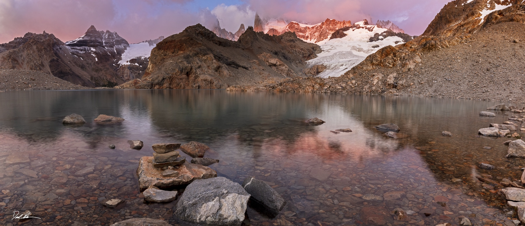 sunrise on alpine lake in Patagonia