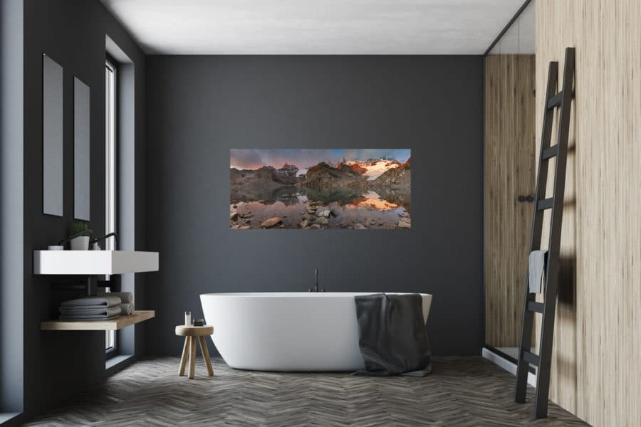 a calming bathroom environment with a photo above the bathtub a seemingly good place to relieve stress a the end of the day