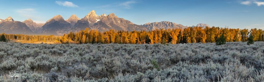 photograph of Grand Teton Mountain range at sunrise with fall colors in the trees