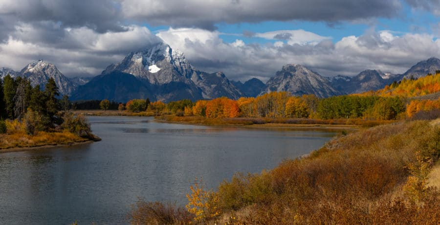 Landscape scene of mountains in the Grand Teton National Park