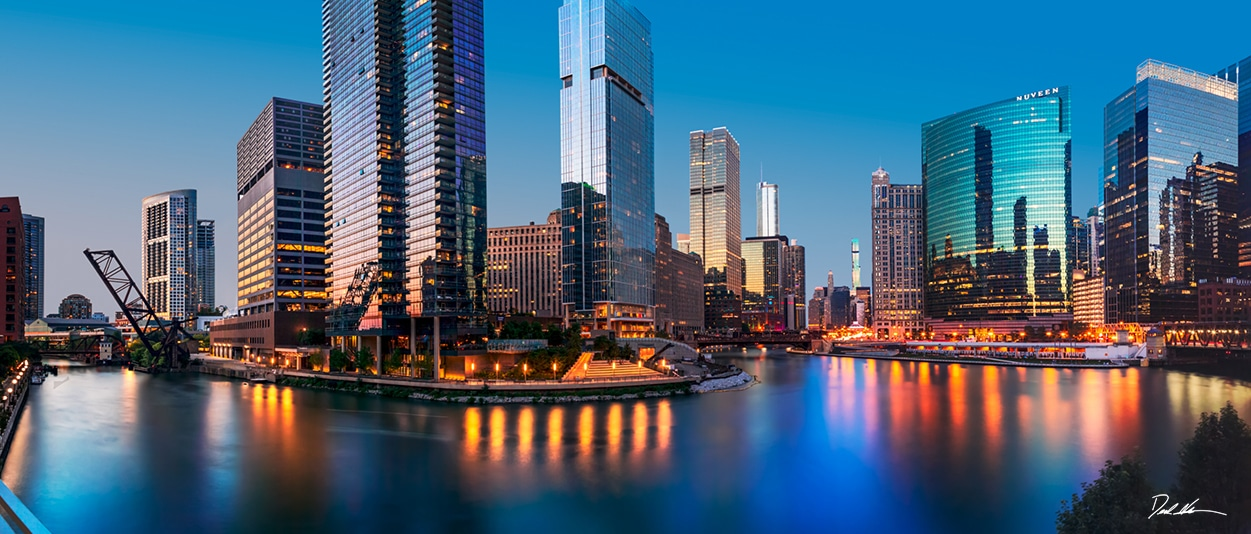 Large panoramic photo along the river at sunset in Chicago
