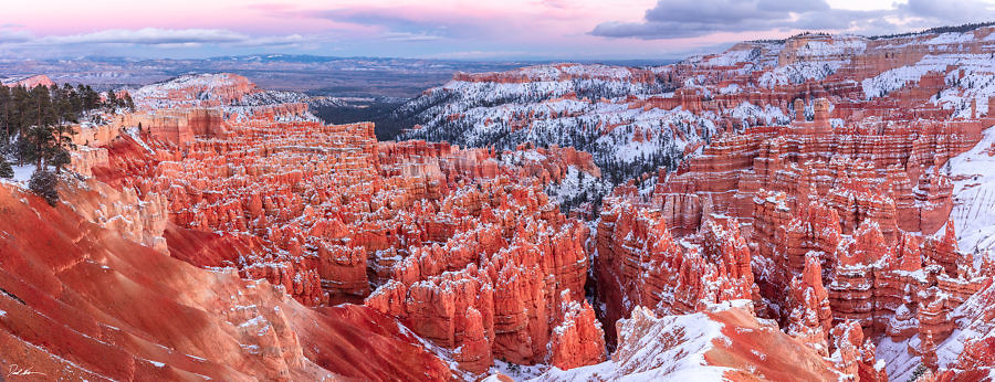 Large panoramic image of Bryce Canyon National Park at sunset with bright colors
