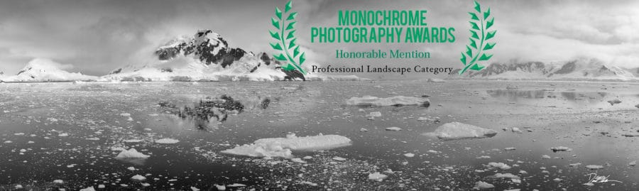 photo of award-winning photo of Antarctic landscape in black and white