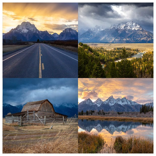 4 Images of Grand Teton National Park displayed in a grid