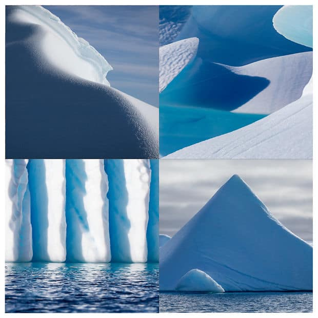 4 images of glacial ice displayed in a grid