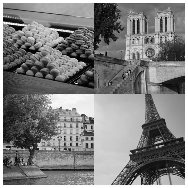 four images of Paris in black and white displayed in a grid