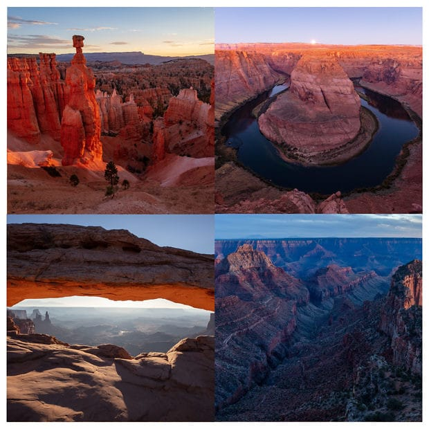four images of America's Southwest displayed in a grid