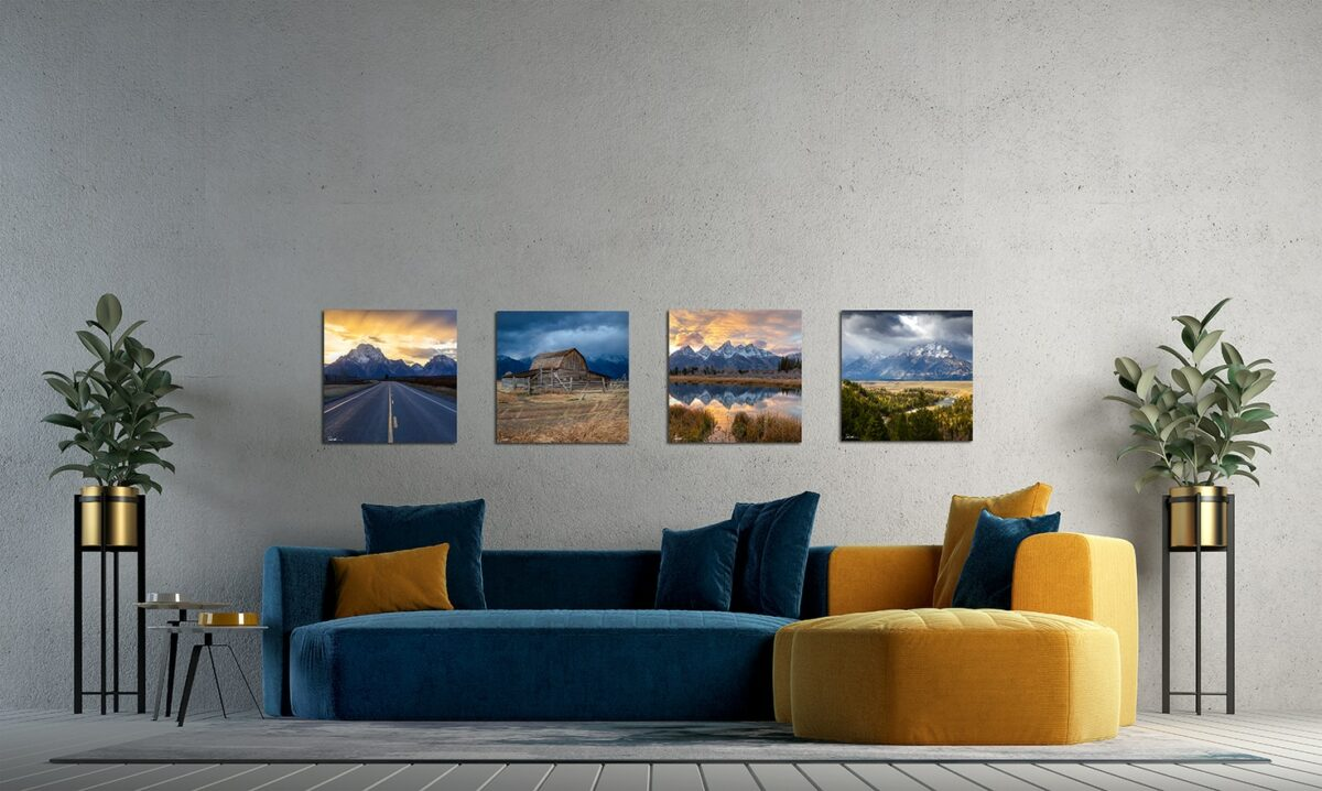 Four images of the Grand Tetons displayed above couch in modern living room