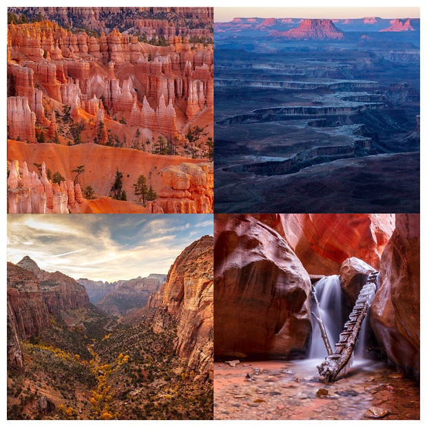 four images of national parks in Utah displayed in a grid
