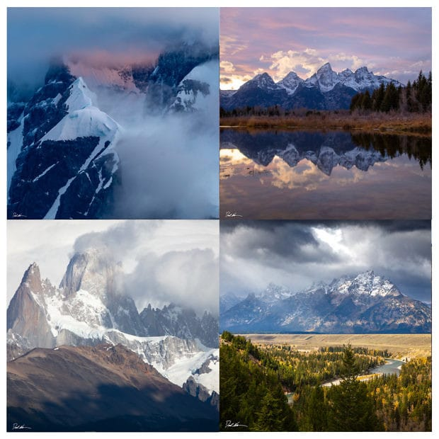 set of 4 images of mountains displayed in a grid