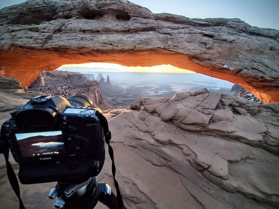 image of camera in live view photographing mesa arch in Utah