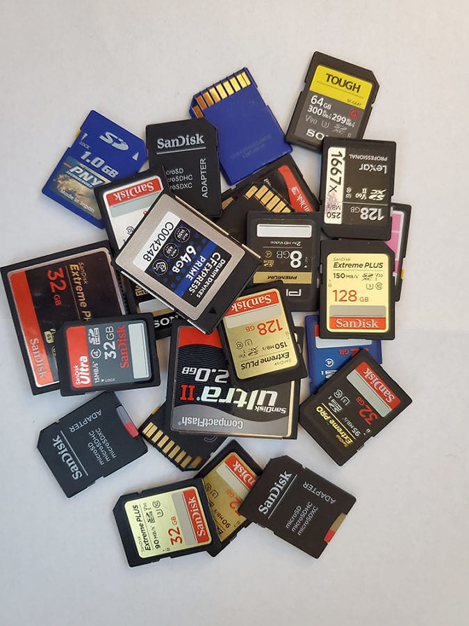 photo of a pile of memory cards for a camera